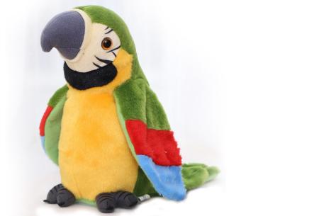 Pratende en bewegende eenhoorn of papegaai   Grappig knuffelbeest dat alles imiteert wat je zegt papegaai - groen