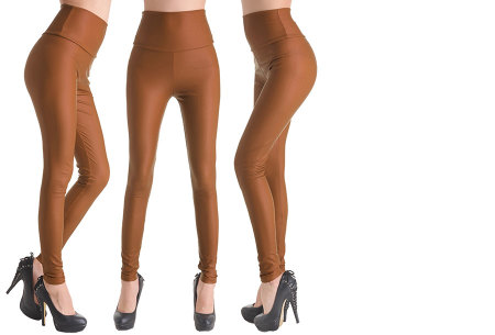 Leather Look legging | Voor een trendy look! Camel