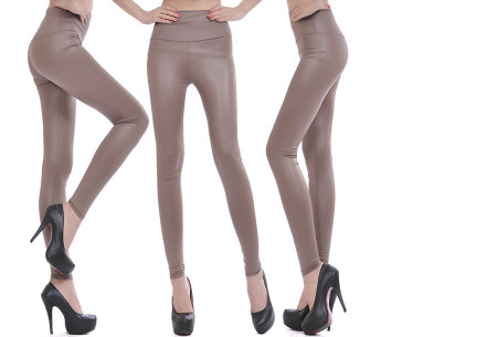 Leather Look legging | Voor een trendy look! Taupe