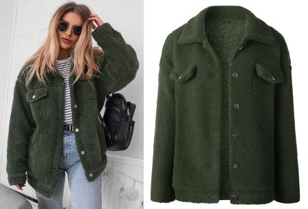 Teddy button jas | Warm, comfortabel & fashionable het najaar door legergroen