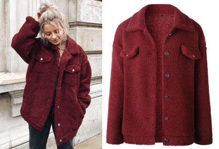 Teddy button jas | Warm, comfortabel & fashionable het najaar door wijnrood
