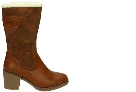Gevoerde laarzen met hak | Warme voeten in stijl Camel hoog