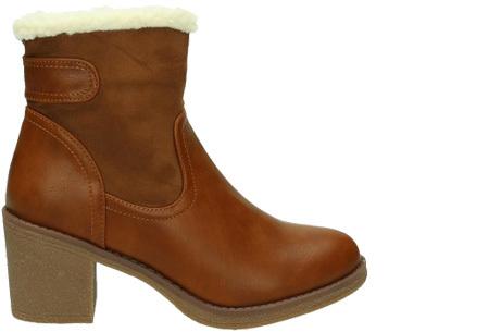 Gevoerde laarzen met hak | Warme voeten in stijl Camel laag