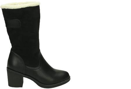 Gevoerde laarzen met hak | Warme voeten in stijl Zwart hoog