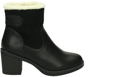 Gevoerde laarzen met hak | Warme voeten in stijl Zwart laag