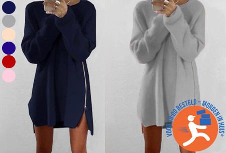 Knitted zipper trui