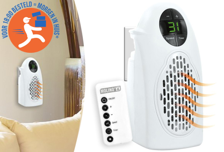 Molino mini heater nu in de aanbieding met 67% korting