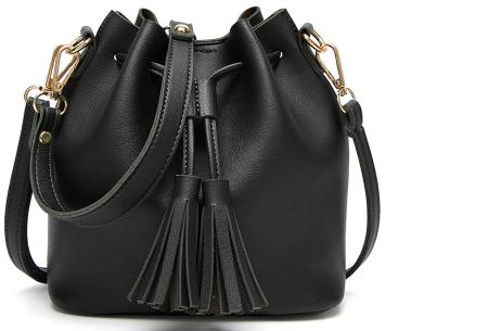 Fancy hand- en schoudertassen | Hippe tassen in 2 modellen en diverse kleuren A - Zwart