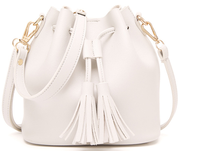 Fancy hand- en schoudertassen | Hippe tassen in 2 modellen en diverse kleuren A - Wit