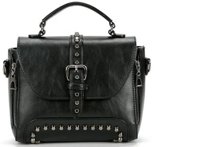 Fancy hand- en schoudertassen | Hippe tassen in 2 modellen en diverse kleuren B - Zwart