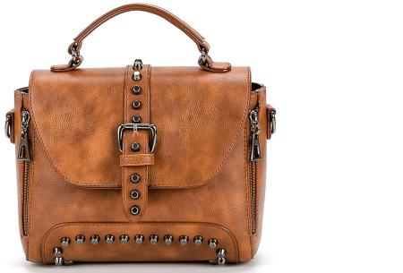 Fancy hand- en schoudertassen | Hippe tassen in 2 modellen en diverse kleuren B - Cognac