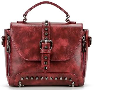 Fancy hand- en schoudertassen | Hippe tassen in 2 modellen en diverse kleuren B - Wijnrood