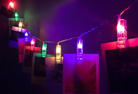 LED lichtslinger voor foto's of kerstkaarten | Sfeervolle slinger met lichtgevende knijpers gekleurd