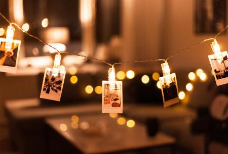 LED lichtslinger voor foto's of kerstkaarten | Sfeervolle slinger met lichtgevende knijpers warm wit