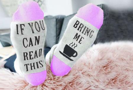 'Bring me coffee' sokken | Origineel, grappig & in diverse kleuren  paars
