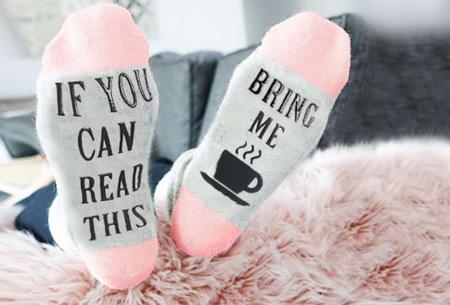 'Bring me coffee' sokken | Origineel, grappig & in diverse kleuren  roze