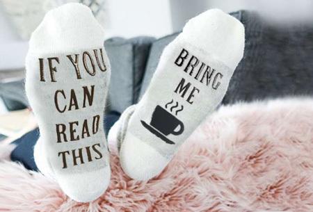 'Bring me coffee' sokken | Origineel, grappig & in diverse kleuren  wit