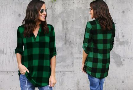 Geblokte blouse | Comfy blouse voor een hippe & stoere look! Groen