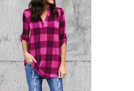 Geblokte blouse | Comfy blouse voor een hippe & stoere look! Roze