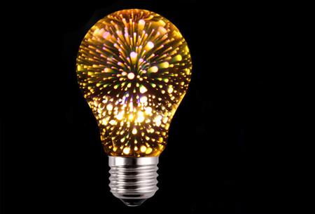 Led-vuurwerklamp in 10 modellen | Feestelijke lichtbronnen met spectaculair 3D vuurwerkeffect A60 - warm wit
