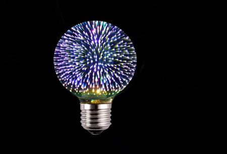 Led-vuurwerklamp in 10 modellen | Feestelijke lichtbronnen met spectaculair 3D vuurwerkeffect G80 rond - wit