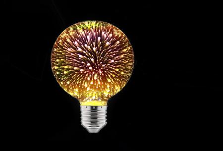 Led-vuurwerklamp in 10 modellen | Feestelijke lichtbronnen met spectaculair 3D vuurwerkeffect G80 rond - warm wit