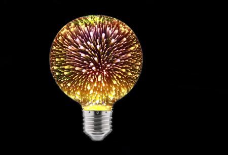 Led-vuurwerklamp in 10 modellen | Feestelijke lichtbronnen met spectaculair 3D vuurwerkeffect G95 rond - warm wit