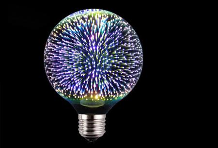 Led-vuurwerklamp in 10 modellen | Feestelijke lichtbronnen met spectaculair 3D vuurwerkeffect G125 rond - wit