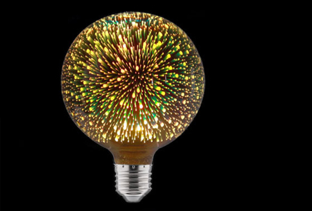 Led-vuurwerklamp in 10 modellen | Feestelijke lichtbronnen met spectaculair 3D vuurwerkeffect G125 rond - warm wit