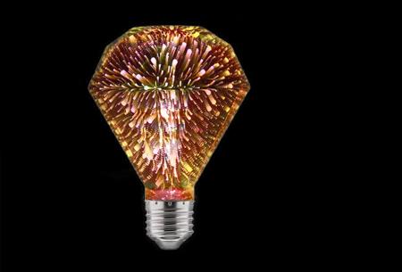 Led-vuurwerklamp in 10 modellen | Feestelijke lichtbronnen met spectaculair 3D vuurwerkeffect G95 diamant - warm wit