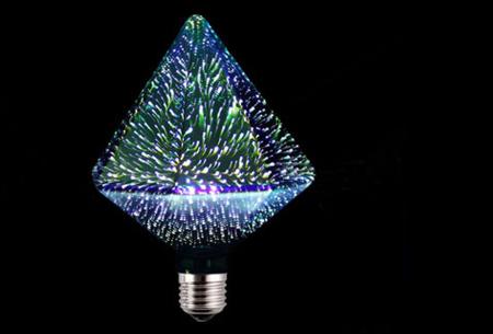 Led-vuurwerklamp in 10 modellen | Feestelijke lichtbronnen met spectaculair 3D vuurwerkeffect G125 diamant - wit