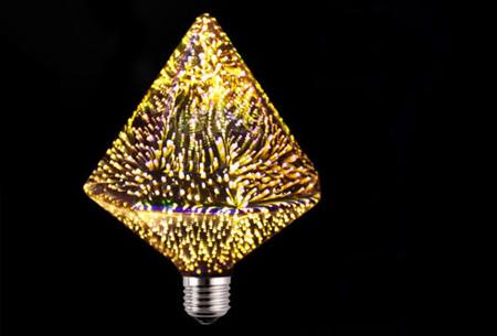 Led-vuurwerklamp in 10 modellen | Feestelijke lichtbronnen met spectaculair 3D vuurwerkeffect G125 diamant - warm wit