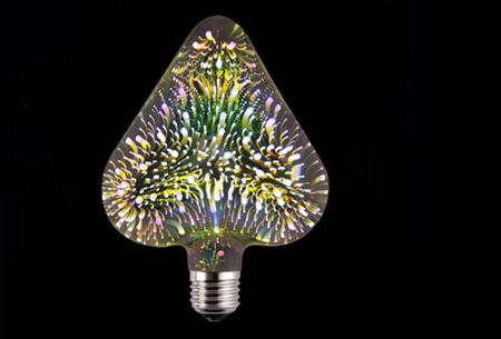 Led-vuurwerklamp in 10 modellen | Feestelijke lichtbronnen met spectaculair 3D vuurwerkeffect Hart - wit