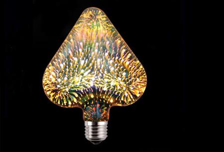 Led-vuurwerklamp in 10 modellen | Feestelijke lichtbronnen met spectaculair 3D vuurwerkeffect Hart - warm wit