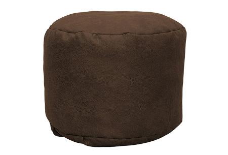 Drop & Sit Leather look poef | Verkrijgbaar in 2 modellen in maar liefst 15 verschillende kleuren Rond - Cognac bruin