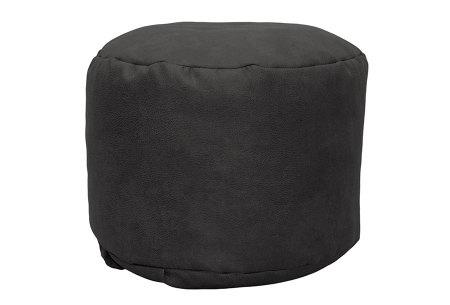 Drop & Sit Leather look poef | Verkrijgbaar in 2 modellen in maar liefst 15 verschillende kleuren Rond - Donkergrijs