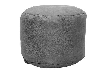 Drop & Sit Leather look poef | Verkrijgbaar in 2 modellen in maar liefst 15 verschillende kleuren Rond - Grijs