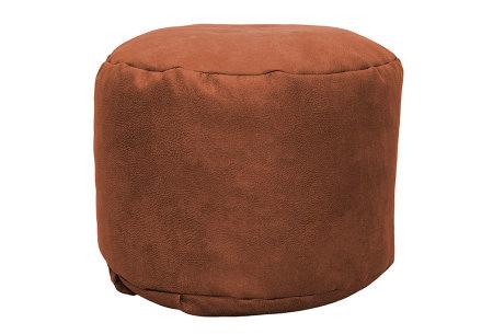 Drop & Sit Leather look poef | Verkrijgbaar in 2 modellen in maar liefst 15 verschillende kleuren Rond - Terra bruin/oranje