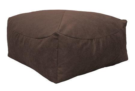 Drop & Sit Leather look poef | Verkrijgbaar in 2 modellen in maar liefst 15 verschillende kleuren Vierkant - Cognac bruin