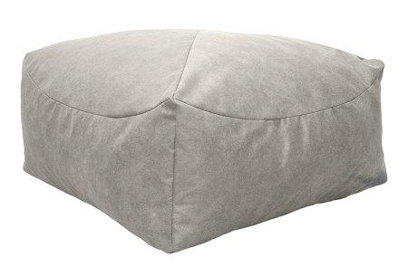 Drop & Sit Leather look poef | Verkrijgbaar in 2 modellen in maar liefst 15 verschillende kleuren Vierkant - Crème