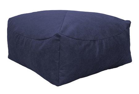Drop & Sit Leather look poef | Verkrijgbaar in 2 modellen in maar liefst 15 verschillende kleuren Vierkant - Donkerblauw