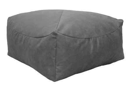Drop & Sit Leather look poef | Verkrijgbaar in 2 modellen in maar liefst 15 verschillende kleuren Vierkant - Grijs