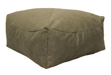 Drop & Sit Leather look poef | Verkrijgbaar in 2 modellen in maar liefst 15 verschillende kleuren Vierkant - Lever beige