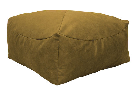 Drop & Sit Leather look poef | Verkrijgbaar in 2 modellen in maar liefst 15 verschillende kleuren Vierkant - Mais geel