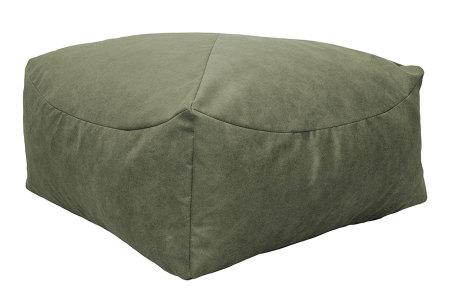 Drop & Sit Leather look poef | Verkrijgbaar in 2 modellen in maar liefst 15 verschillende kleuren Vierkant - Olijfgroen