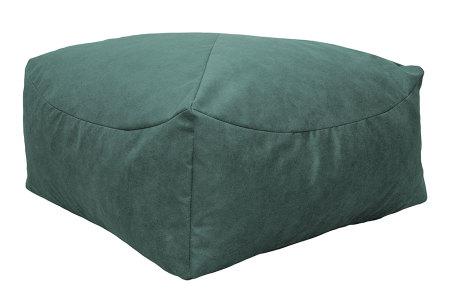 Drop & Sit Leather look poef | Verkrijgbaar in 2 modellen in maar liefst 15 verschillende kleuren Vierkant - Petrol groen