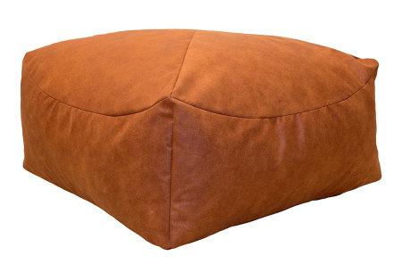 Drop & Sit Leather look poef | Verkrijgbaar in 2 modellen in maar liefst 15 verschillende kleuren Vierkant - Terra bruin/oranje