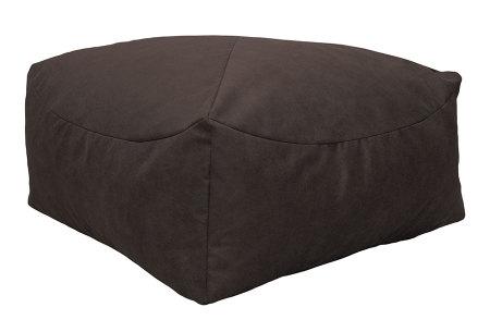 Drop & Sit Leather look poef | Verkrijgbaar in 2 modellen in maar liefst 15 verschillende kleuren Vierkant - Tobacco bruin