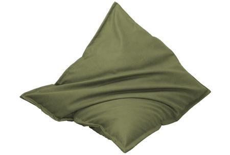 Drop & Sit leather look zitzak | Keuze uit 14 kleuren en 2 afmetingen olijfgroen