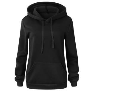 Cozy hoodie | Heerlijk comfortabele dames trui met zachte fleece binnenzijde zwart